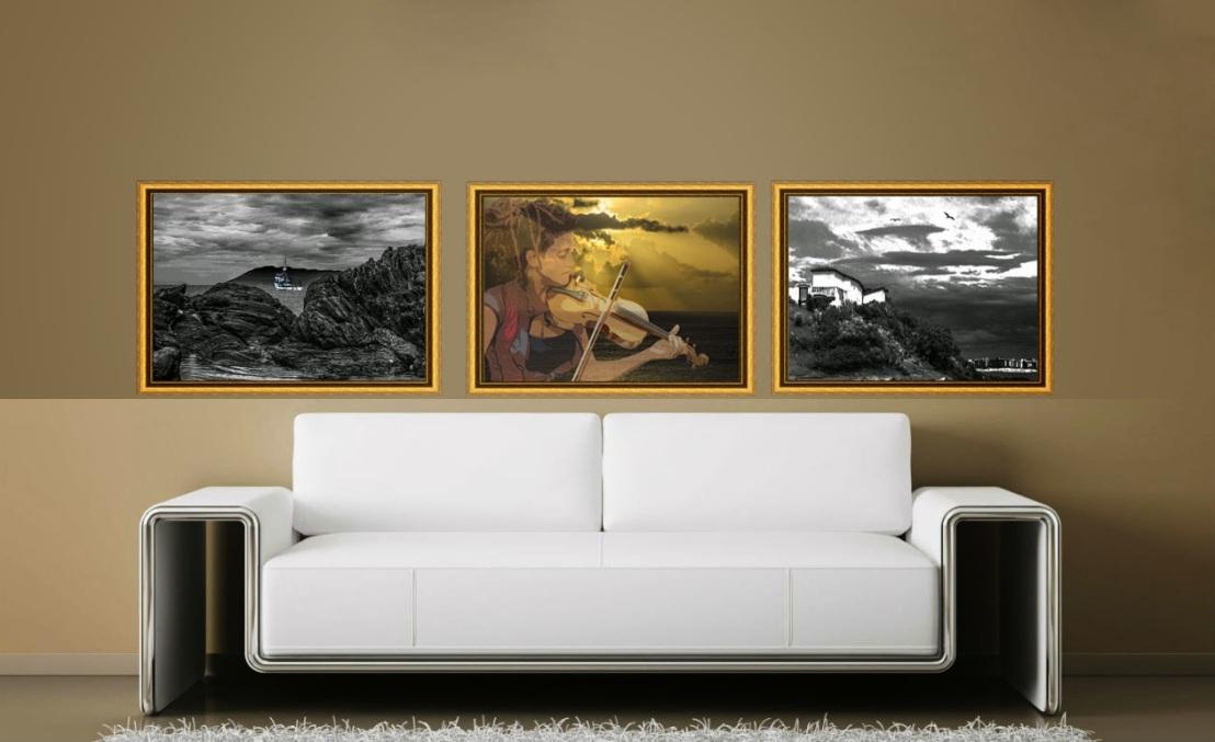 Decoração com composição de quadros